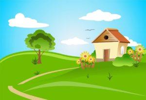 image d'une maison dans un jardin avec un arbre